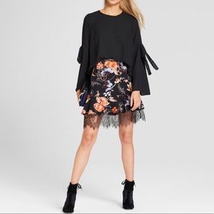 Who What Wear Black Ruffle Floral Lace Skirt B23